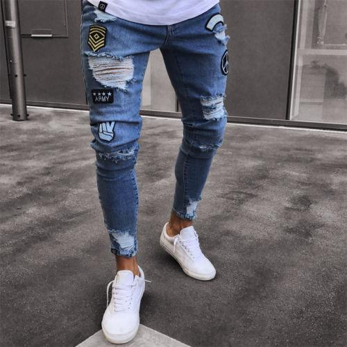 Moda para hombre Skinny Jeans Rip Slim fit Estiramiento Denim Distress Frayed Biker Jeans Niños Patrones bordados Lápiz pantalones