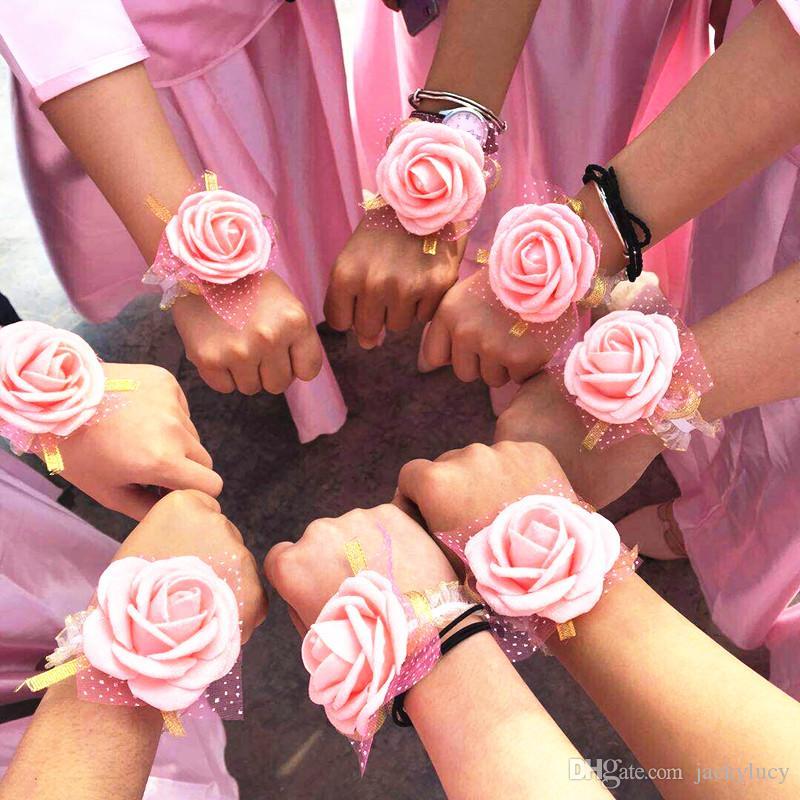 Equipe Bride Artificial Rosa Pulso Flor Presentes de Casamento de Flores de Mão para Convidados Nupcial Party Favores Fornecedores