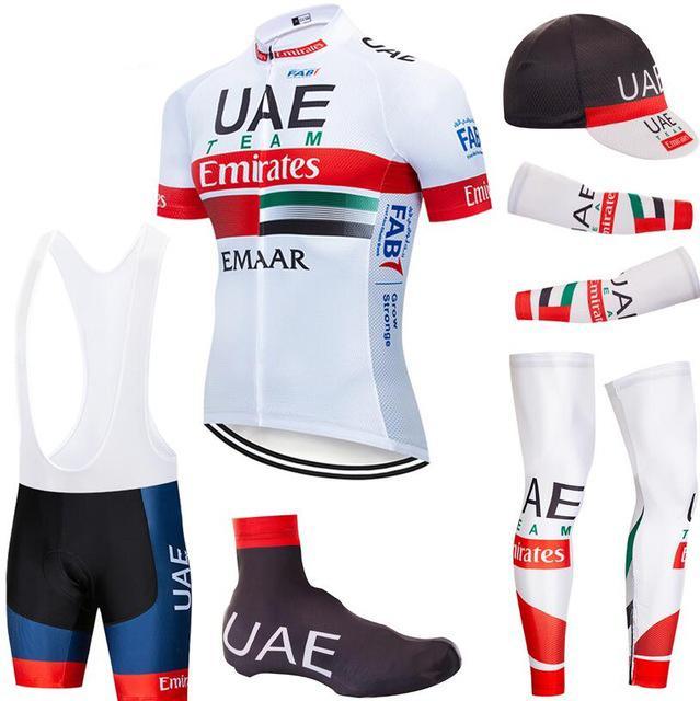 ضبط الدراجات جيرسي 2020 فريق برو الإمارات للدراجات الملابس تنفس MTB دراجة جيرسي armwarmer Legwarmer مريلة السراويل عدة ملابس Ciclismo