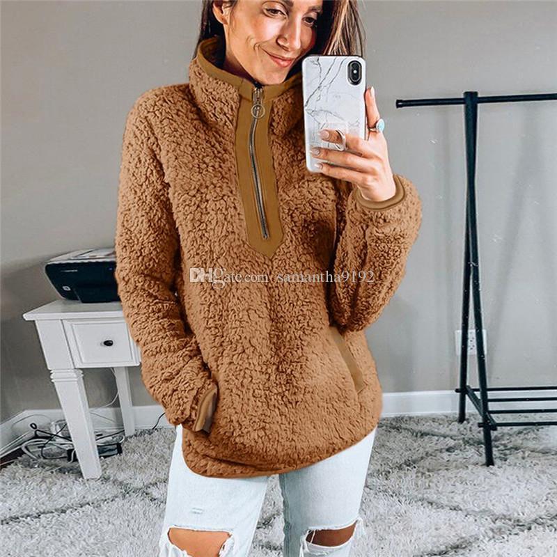 Fluffy Oversized Casual Hoodie Mulheres Natal Zip Up Faux Fur Inverno Fleece camisola com capuz pulôver das senhoras