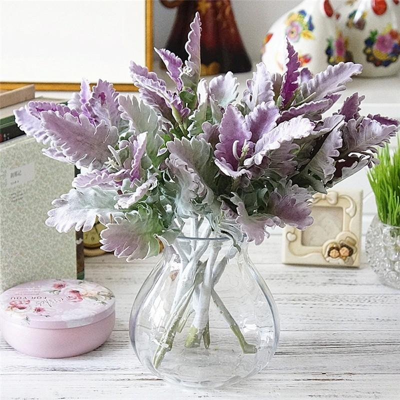 2020 Flocked Artificial Miller Plants Purple Leaves Home Wedding