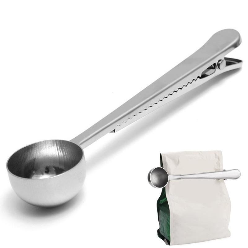 Cuchara medidora de café de acero inoxidable con bolsa de sellado Clip Multifuncional Helado de fruta leche en polvo Cuchara medidora herramienta de cocina