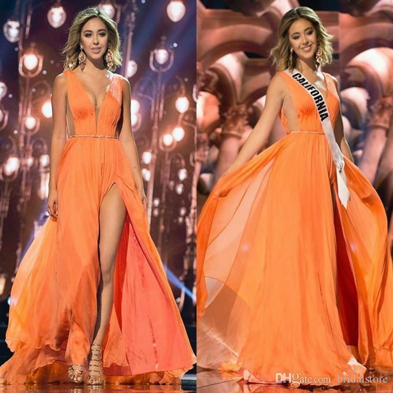 Moda naranja gasa vestidos largos de baile con lado partido Sash vestidos formales del partido atractivo profundo cuello en V vestido de noche árabe de las mujeres para el desfile