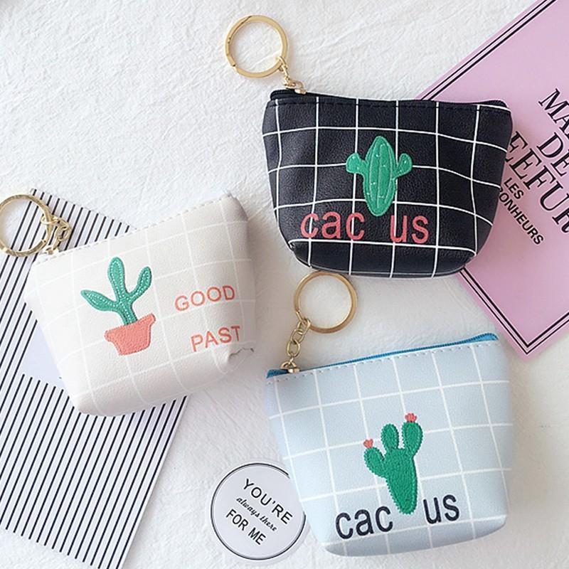 Münze Harajuku Geldbörse Für Kinder Cactus Wallet Print-Mappe PU-Fashion Square Reißverschluss-Minitasche