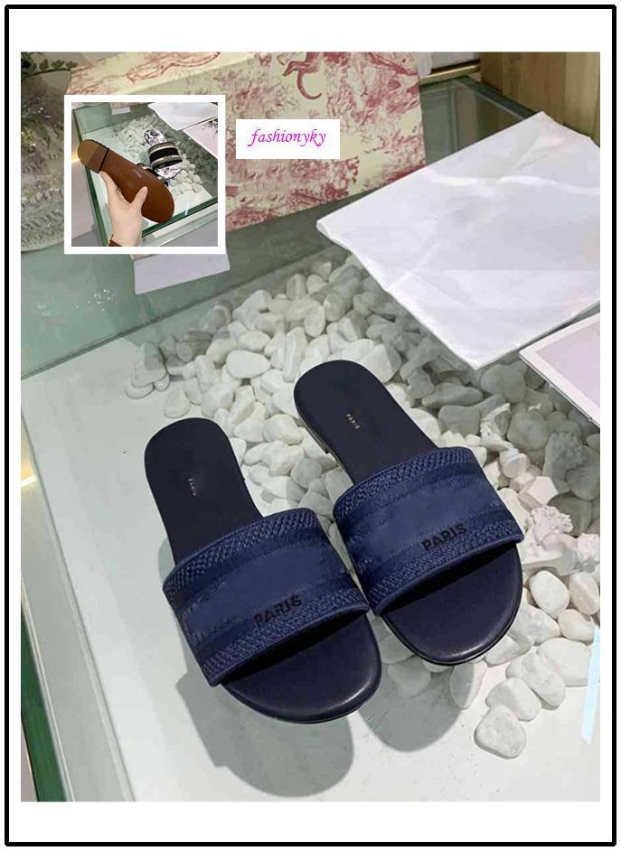 scatola originale NUOVO Dazzle Fiori pantofole spiaggia donna estate Alphabet Pantofole Designer scarpe da donna di ricamo