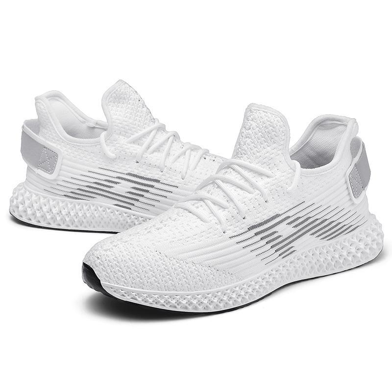 zapatos de los hombres nuevos zapatos deportivos de moda al aire libre de la armadura blanca que se ejecuta zapatillas de deporte de los hombres de peso ligero y negro