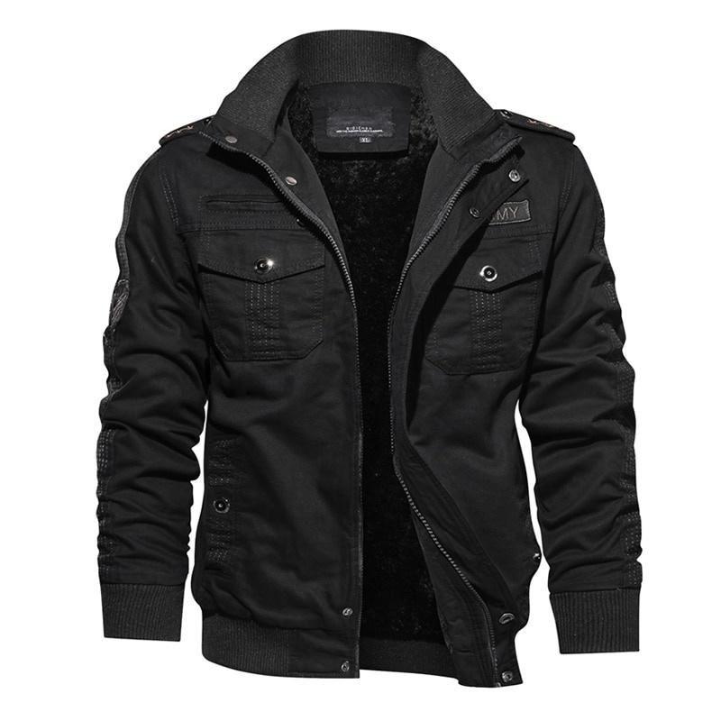 2019 NOVO Homens Winter Jacket Tactical térmica Casual Bomber de lã grossa jaqueta Brasão Army Pilot Jackets Carga-G