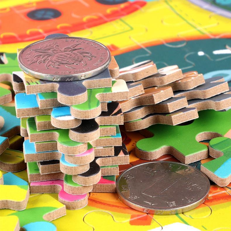120pcs rompecabezas de madera de juguete del rompecabezas de madera 3D de dibujos animados con caja de hierro paquete Rompecabezas Juguetes hijo a mejorar la capacidad de pensamiento lógico