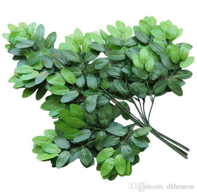 أوراق مصطنعة معبد أوراق نبات شجرة بانيان 12pieces / lot اللون الأخضر استخدام طويل الوستارية ديكور لتزيين حديقة المنزل