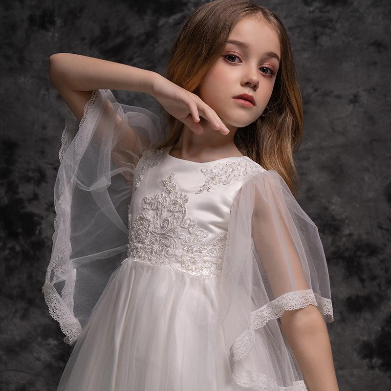 Wear desempenho Meninas manga comprida vestido de princesa Oriente Crianças da escola Piano crianças de flor Vestido de malha vestidos de primavera