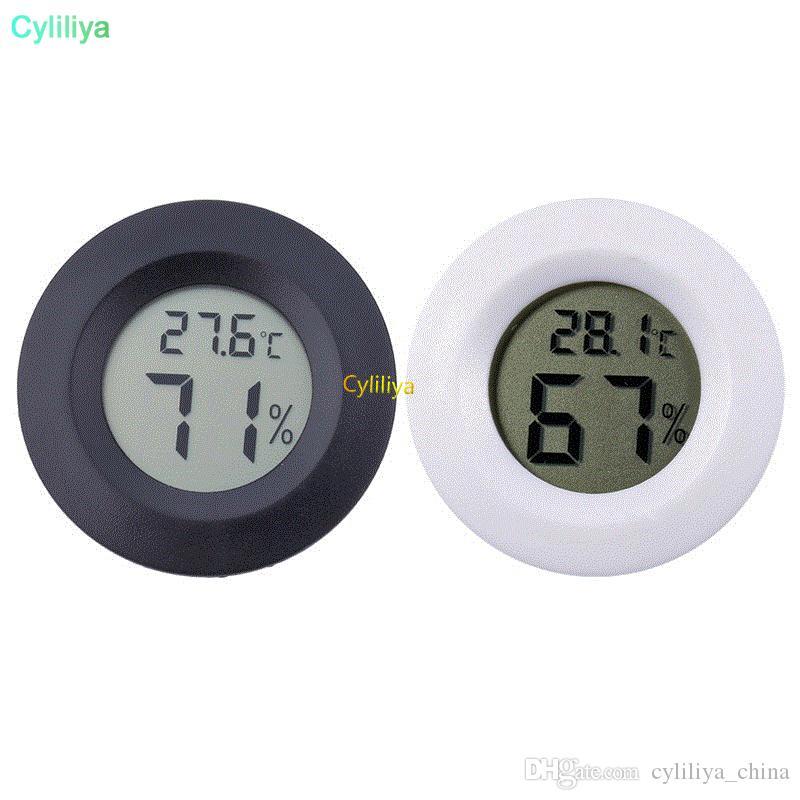 Aracı 50pcs Ölçme Mini Yuvarlak LCD Dijital Termometre Higrometre Buzdolabı Dondurucu Tester Sıcaklık ve Nem Ölçer Dedektör Ev