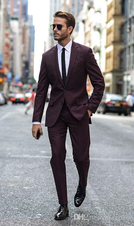 Red Men Suits 2018 Wedding Handsome Groom Tuxedos Burgundy Slim Fit Bridegroom Best Men Blazers Men's Classic Suits 2 Pieces (Jacet+Pants)