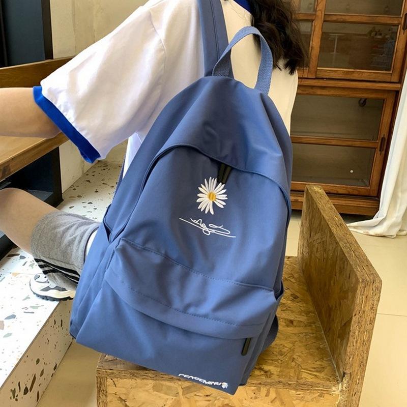 genç Koleji için 2020 Katı sırt çantası kız okul çantaları Kadınlar Schoolbag Yüksek öğrenci çantası siyah naylon baskı rüzgar