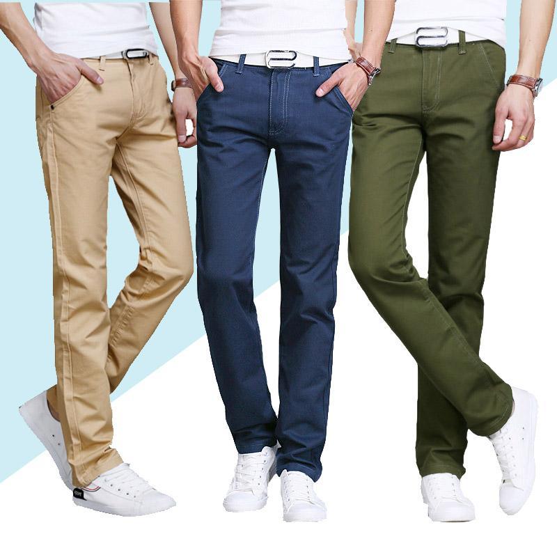 2020 Novo design casual homens calças de algodão fino fina Pant reta calças moda negócio sólido Azul Preto calças dos homens