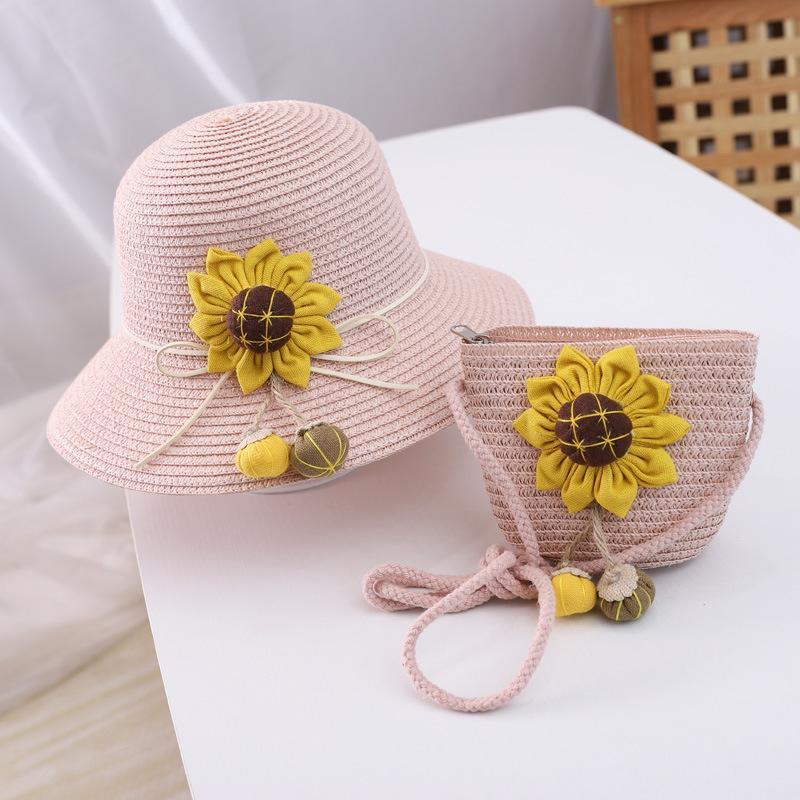 Çanta 2pcs Sun Flower Yaz Hasır Şapka kızlar Plaj Panama Şapka Güneşlik Şapka Gorras için