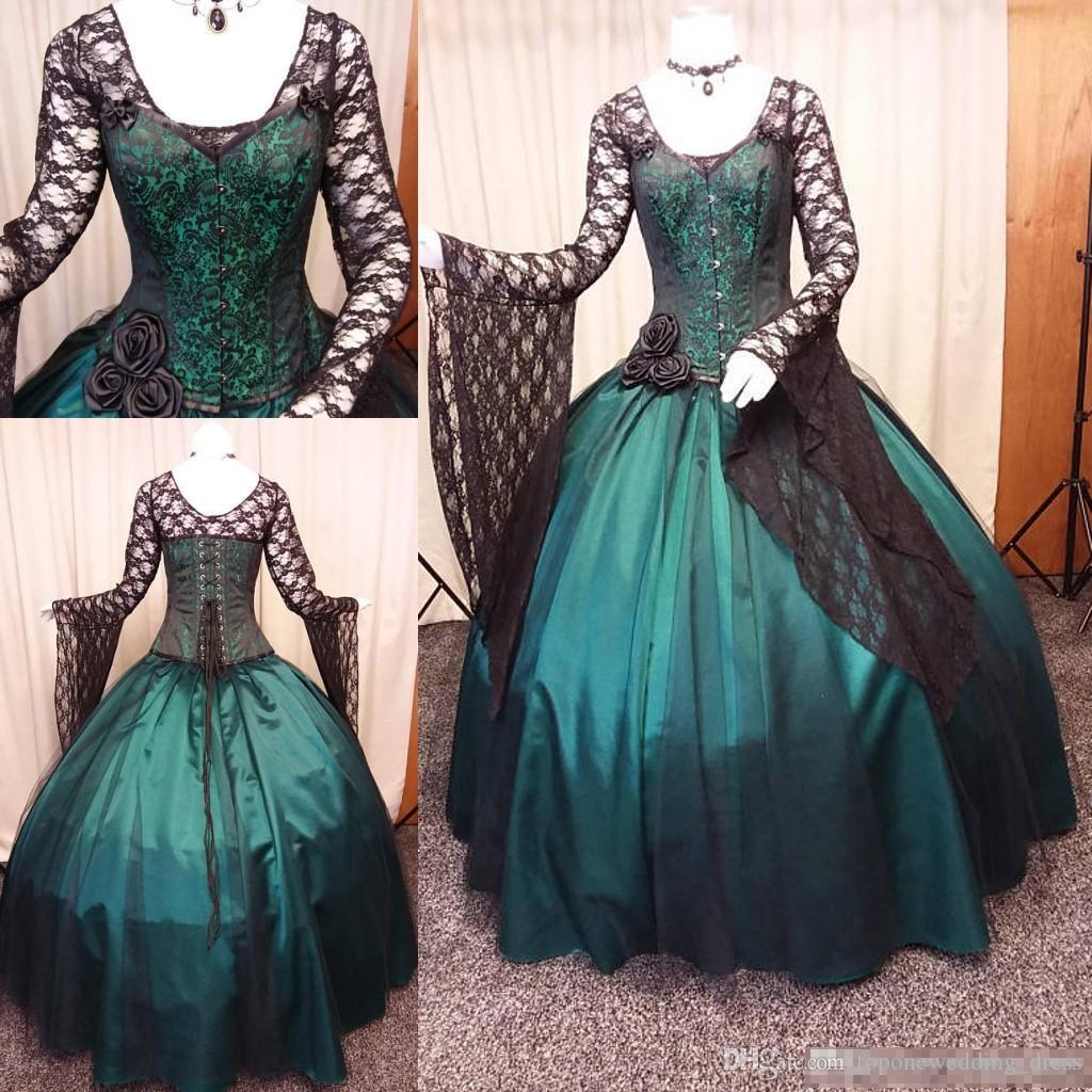 Discount Vintage Black And Green Gothic Wedding Dress 2019 Long