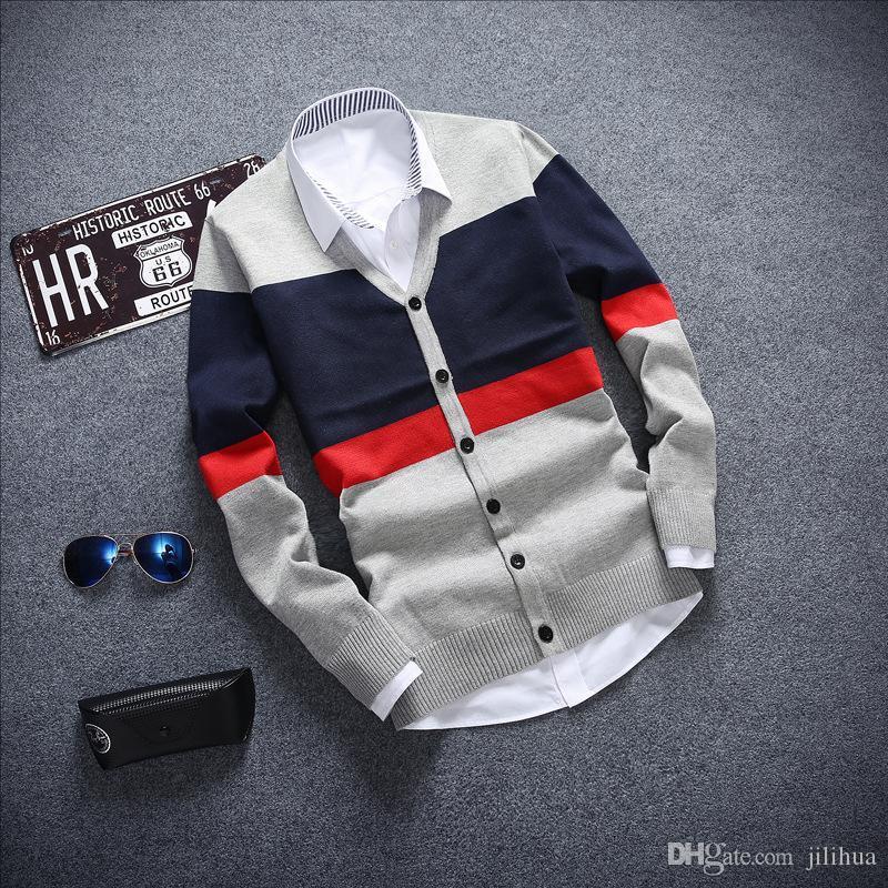 Wholesale- Men's sweaters cardigan Long-sleeved sweater V neck Flat knitwear for man Casual stripe pull Best Sellers male sweater