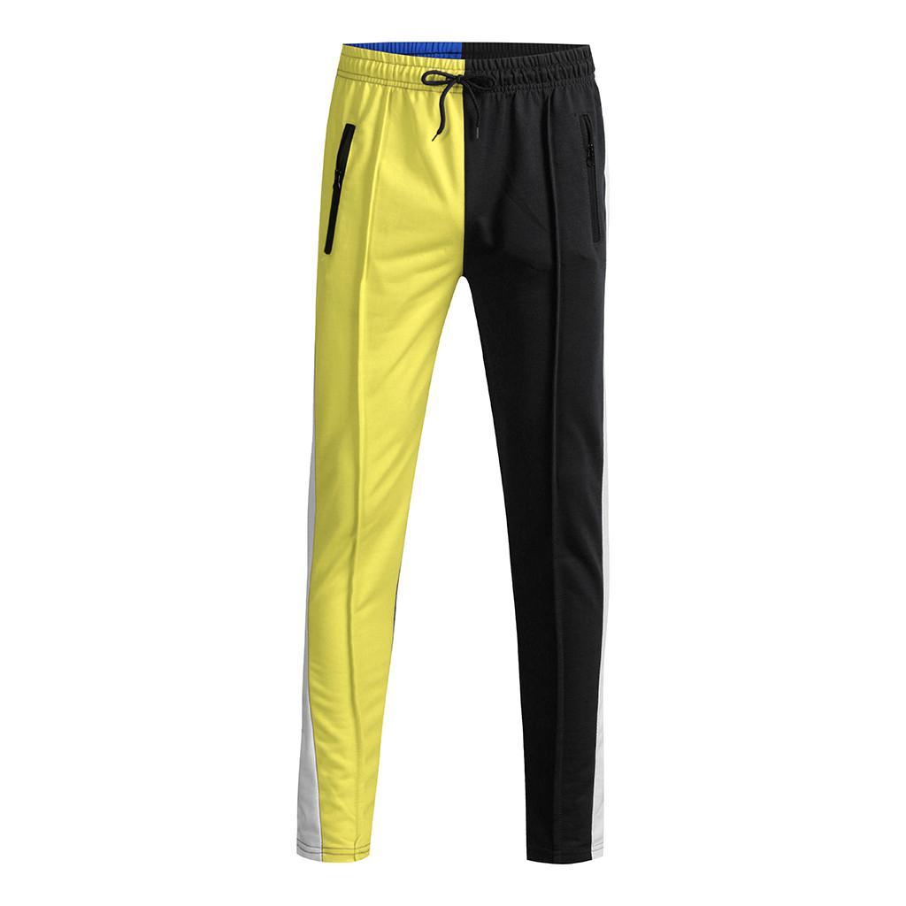 Cotton Elastic Waist Straight Pant Fashion Men's Casual Loose Patchwork Color Sweatpant Trousers Patchwork c0313