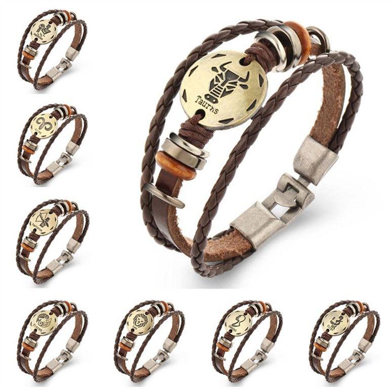 12 Zodiac Constellation Bracelet Réglable PU Wrap Bracelet Bracelet Manchette En Verre Cabochon Charmes Fashio Bijoux pour Femmes Hommes Drop Shipping