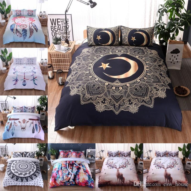 Feather Pattern Bedding Set Mandala, Boho Bedding Queen Size