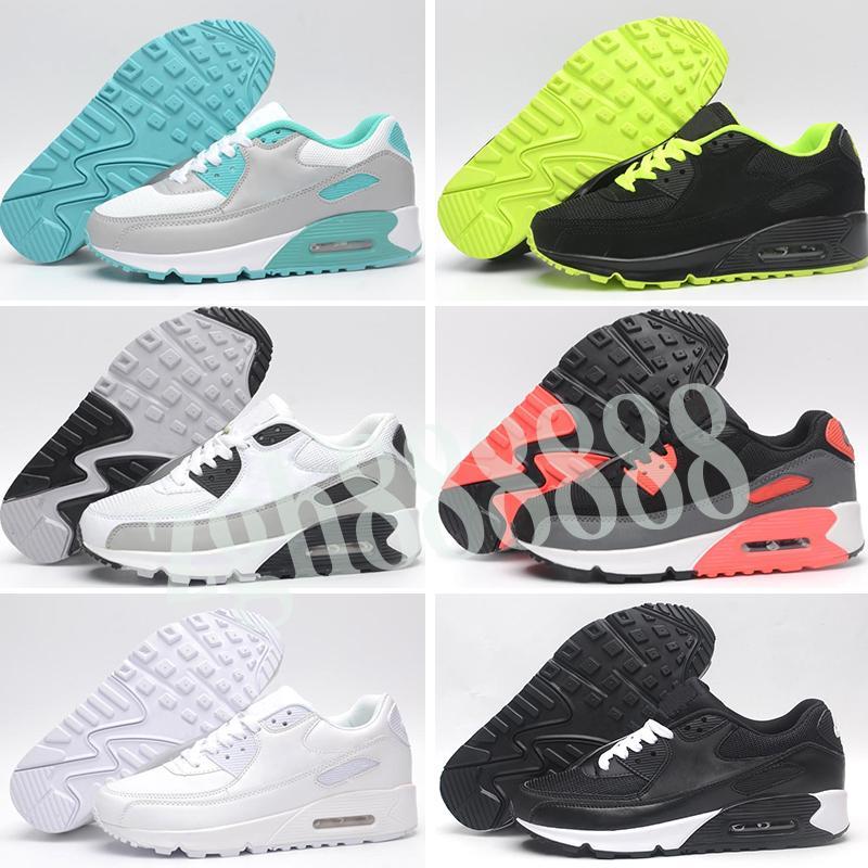 Nike Air Max 90 Yüksek kalite 2019 yeni Hava yastığı koşu ayakkabıları ucuz Erkek Kadın Siyah Beyaz Bej Sneakers klasik Hava yastığı Eğitmen Spor Ayakkabı h08