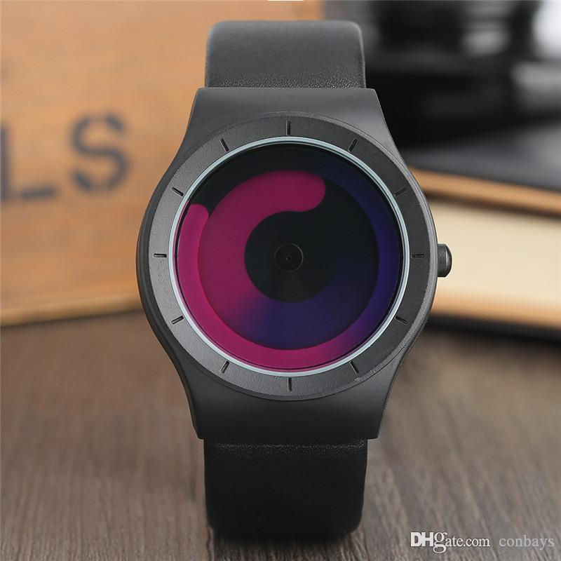 Creative Unique Turntable Swirl Pointer Design Mens Quartz Wristwatch Male Stylish Watches Leather Watchband Casual Clocks Reloj Mascu Cheap Designer Watches Cheap Watch From Conbays 10 32 Dhgate Com