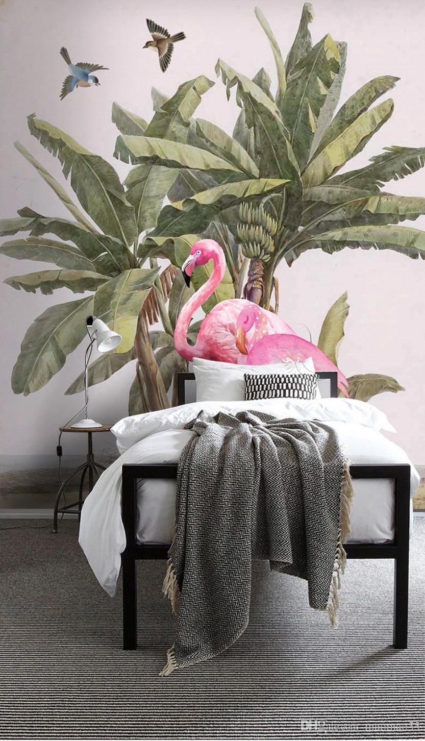 papel de parede Individuelle Fototapete 3D Wandbild mittelalterliche Hand bemalt Bananenbaum Flamingo Hintergrund Wandmalerei