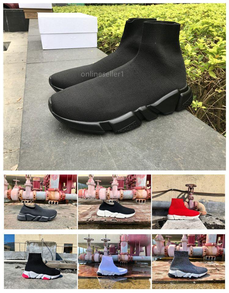 Erkekler Kadınlar İçin En İyi Çorap Ayakkabı Yeni Popüler Yüksek Düşük Kırmızı Beyaz Gri Renkli Siyah Günlük Ayakkabılar Tasarımcı Moda Çorap Ayakkabı