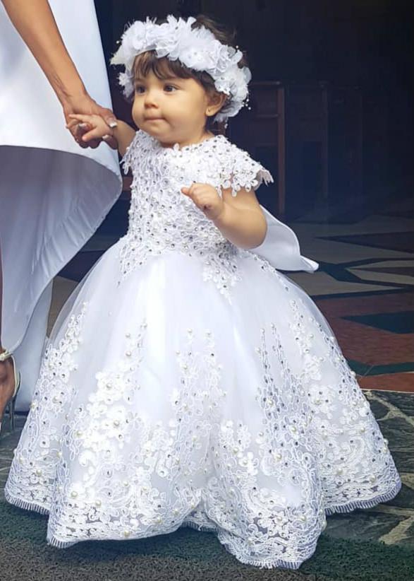 Cristales de encaje de lujo del florista de los vestidos de bola del vestido de tul pequeños vestidos de boda del desfile de Comunión barato viste los vestidos F218