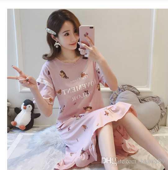 Yaz Kısa kollu Gecelik Kadın Kore Versiyonu Pamuk Xl Yaz Rahat Pijama Gevşek Sevimli Elbise Ev Hizmet Eğlence Giyim