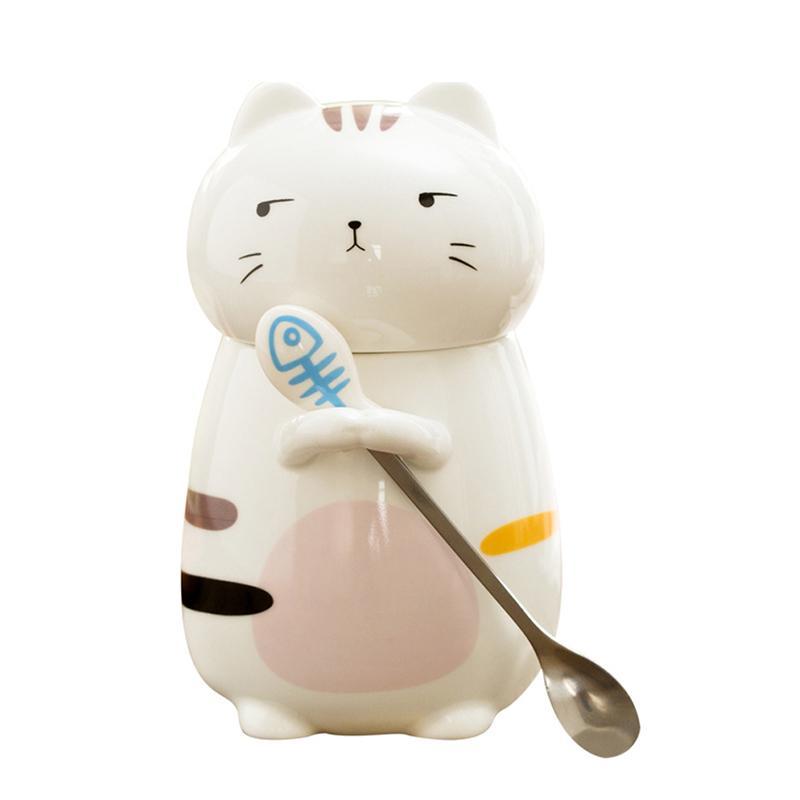 Cerámica lindo gato taza de café con la tapa de gran capacidad creativa Animal Tazas de café Vasos Tazas de té de la novedad de los regalos de la leche