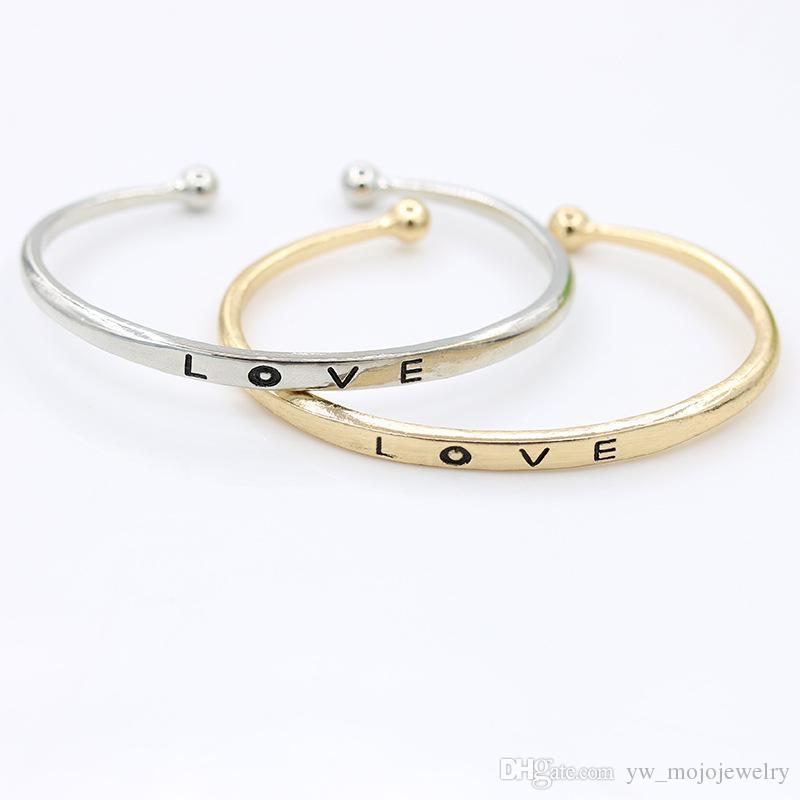 2019 Popular Design Womens Christmas Gift Silver Gold Rose Gold Plated Love Words Bangle Bracelets For Sale