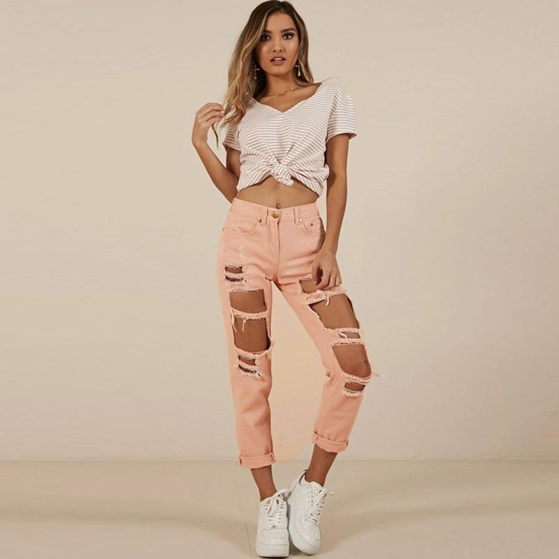 Seksi Yırtık Kot Dilenci Kadın Big Delikler Streetwear Kadın Denim Pantolon Sıkıntılı Design Plus Boyut Yırtık Pantolon Broken Destroy