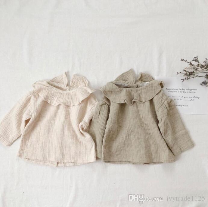 Chica niños ropa camisa de manga larga Volantes Collar diseño de color sólido ropa de niña TOP 100% algodón camisas de niña