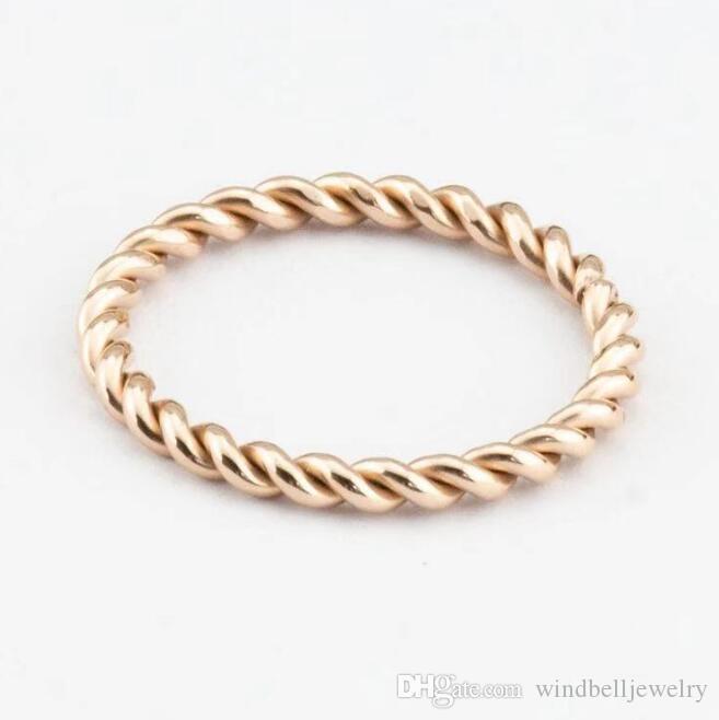 Горячая мода из нержавеющей стали IP-покрываемая розовое золото Витая веревка текстура кольцо 316L хирургическая сталь высокого полированного кольца женское кольцо евреи