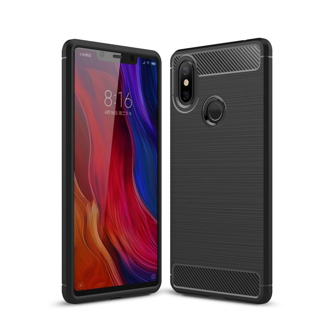 Brossé Texture En Fiber De Carbone antichoc TPU Cas Pour Xiaomi Mi 8 SE