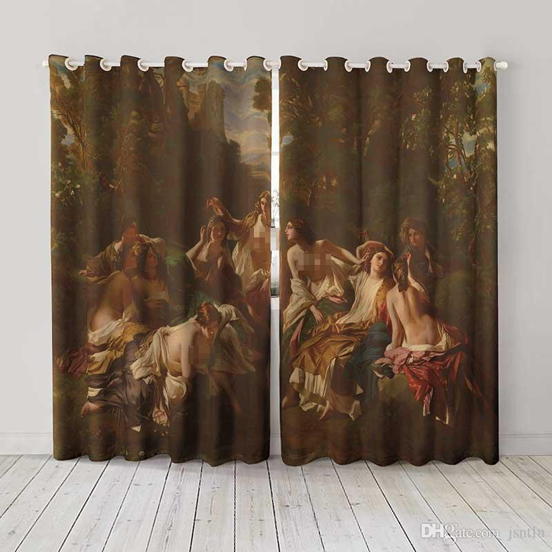 Personality Custom curtain world famous painting florinda drapes Extra wide Blackout curtain party decoration background