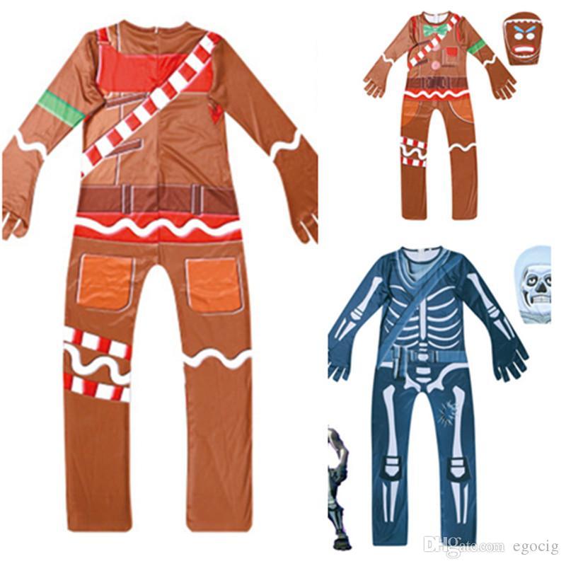 Tam Başkanı ile Çocuk İskelet bodysuit Korkunç Demon Şeytan Kafatası Tulumlar Cadılar Bayramı Cosplay Kostüm BODYCON Clothing Maske