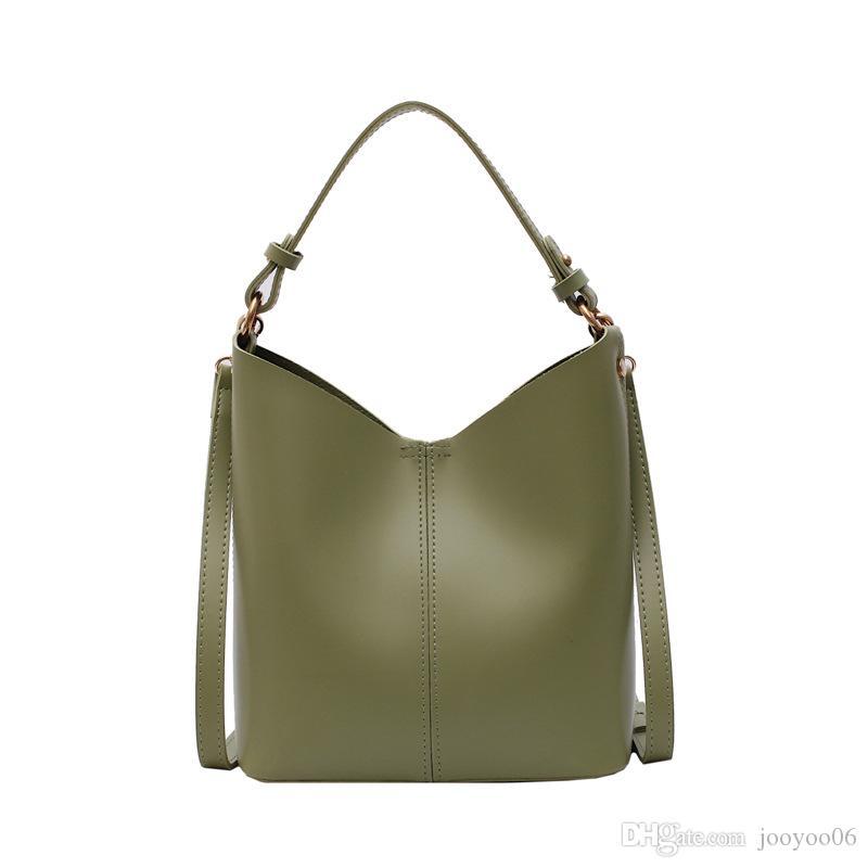 Vintage solide Couleur des femmes Patchwork sac à bandoulière seau sac ouvert de poche fil souple shopping sac à main