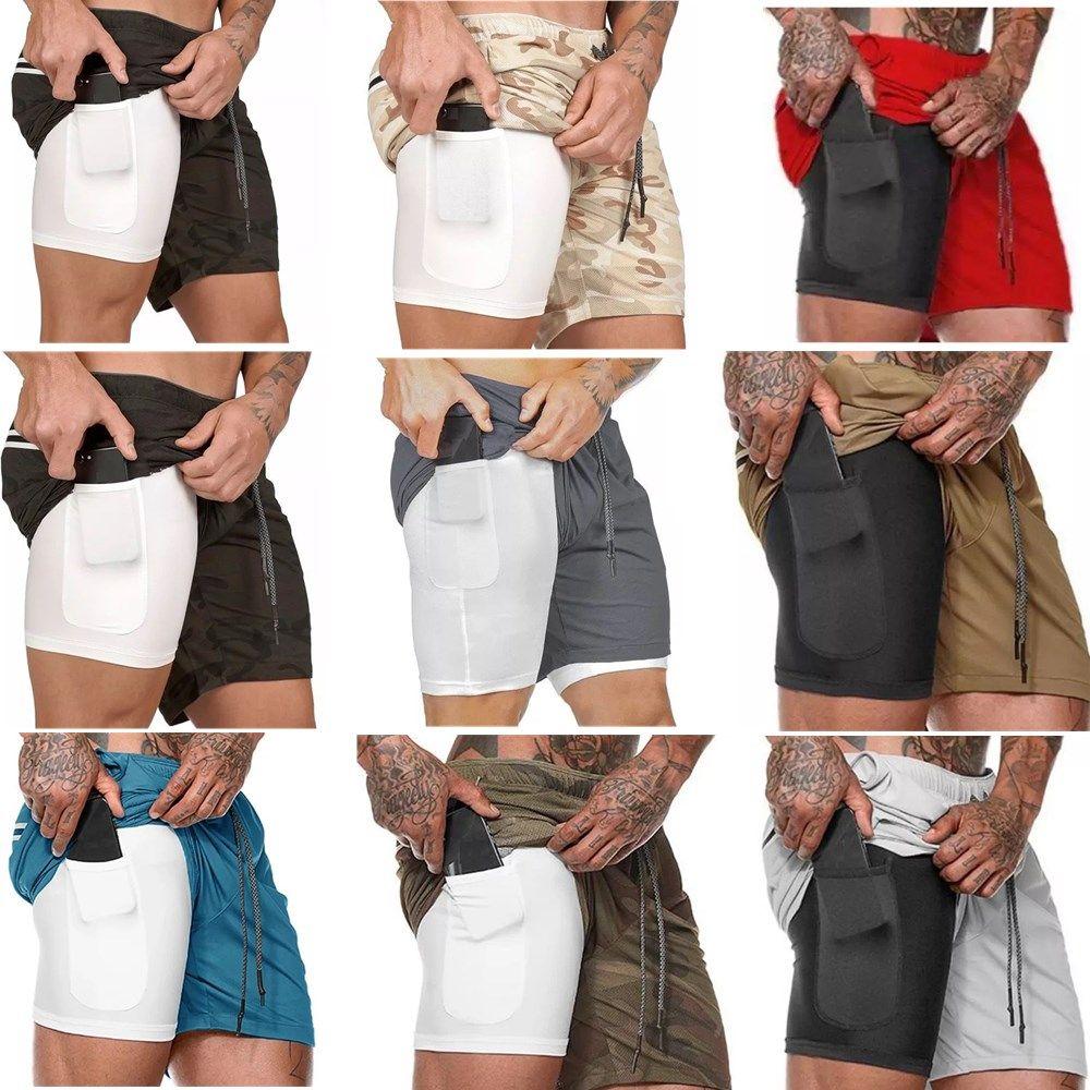 ملابس جديدة الرياضية الإرساء سراويل الرجال الرياضة رياضة ضغط الهاتف الجيب تحت طبقة قاعدة سروال قصير رياضية الصلبة الجوارب السراويل سروال