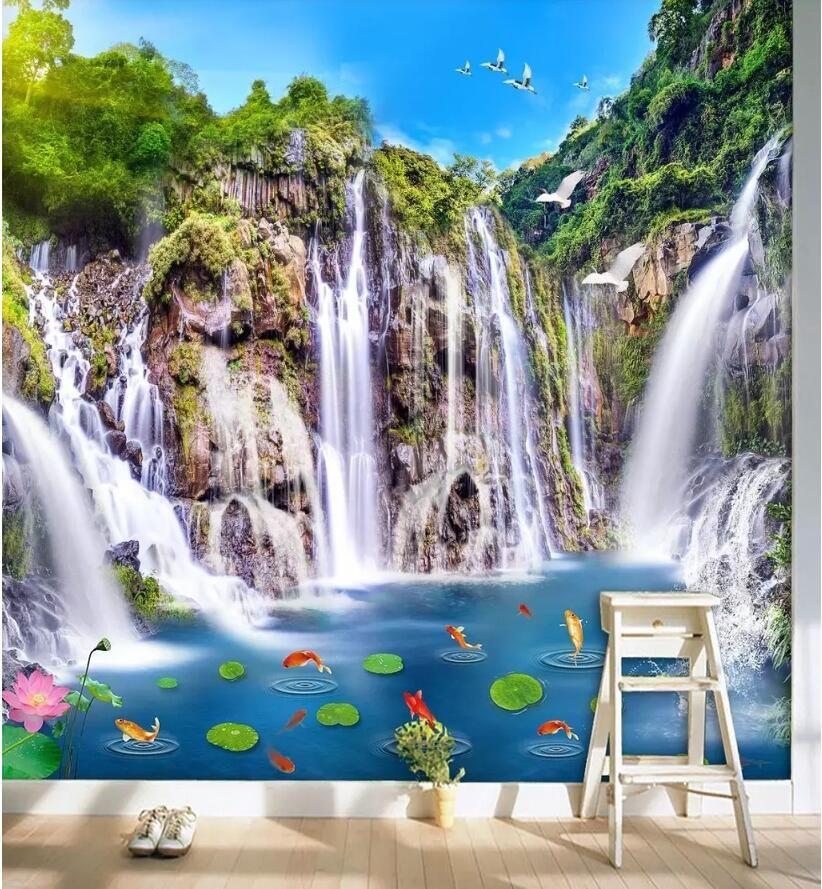 3d quarto papel de parede personalizado foto não-tecido mural Paisagem cachoeira ponte de madeira 3D paisagem parede de fundo papel de parede para paredes 3 d