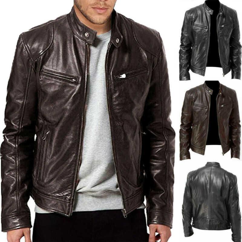 En cuir brun pour hommes Veste noire New Retro Slim Motorcycle Fashion Design Veste manches longues de couleur unie
