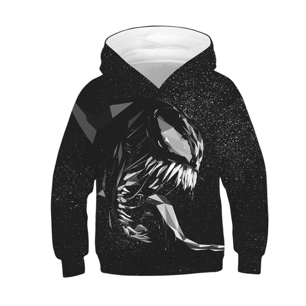 Kids Girls Boys Venom Print Hoodies Sweatshirt Long Sleeve Pullover Jumper Tops