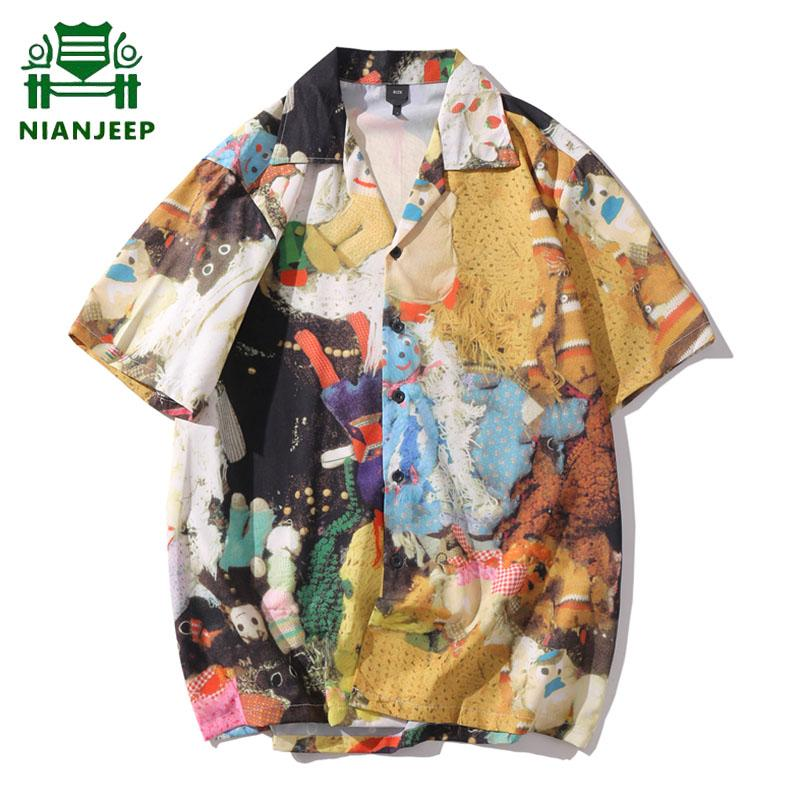 Printed Short Sleeve Shirt Men Casual Streetwear 2020 Hawaii Beach Oversize Women Fashion Harajuku Hip Hop Men's Fashion Shirts
