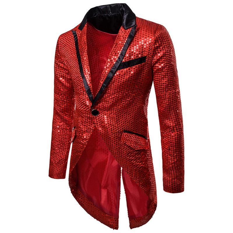 Oeak Men Shiny Sequin Swallow Tailed Coat Solid Color Slim Fit Retro Tuxedo Wedding Groomsman Lapel Evening Prom Blazers