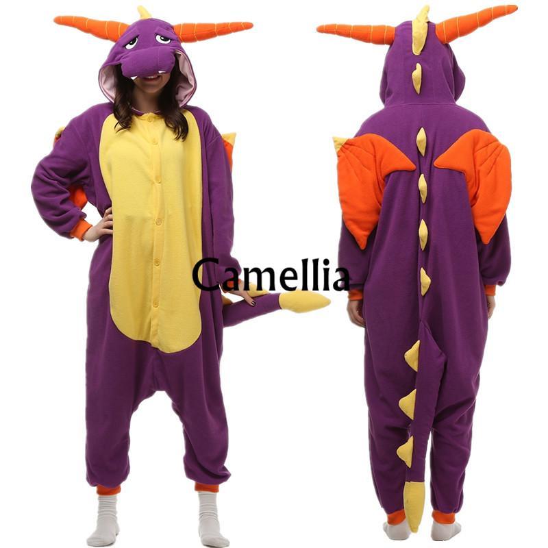 Novidade Adultos Bonito Cara Onesie Unisex Traje de Cauda de Pelúcia Polar Fleece Partido Pijama Halloween Fada Do Dragão Macacão mascote
