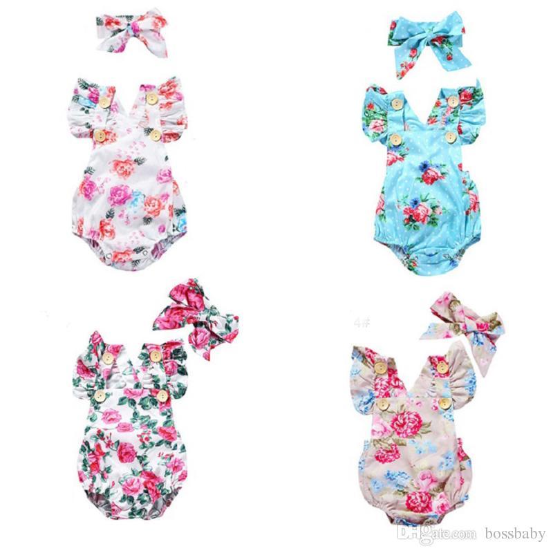 Новорожденный Ребенок Onesies Baby Girl Повседневная Одежда Синий Цветок Точка Альпинистский Костюм Без Рукавов Треугольный Подъем Пуловер