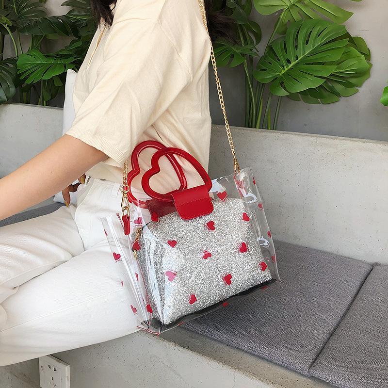 Летняя прозрачные мешки Jelly сумки Crossbody для женщин 2020 Качества ПВХ сумка Ladies Beach Очистить сумки на ремень