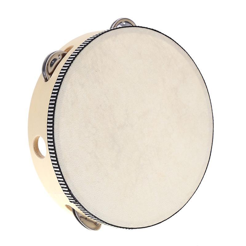 6 pulgadas pandereta de mano de la pandereta de Bell del tambor del partido KTV juguete musical de abedul metal Jingles escuela de los niños juguetes de percusión C2391