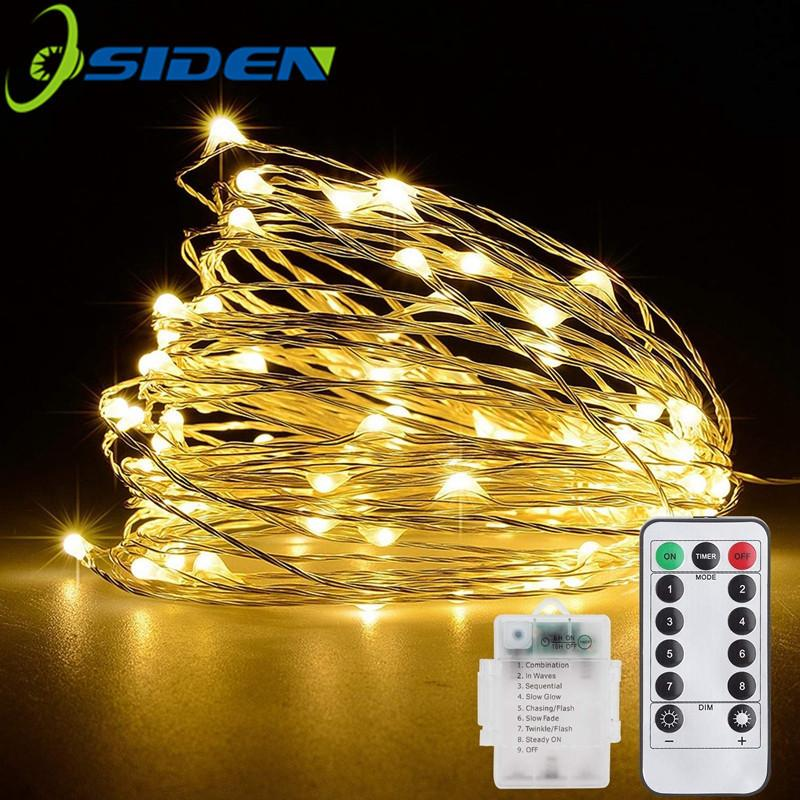 Christmas Light 5/10m Waterproof Remote Control Fairy Lights Battery Usb Operated Decoration 8mode Timer Led String Copper Wire